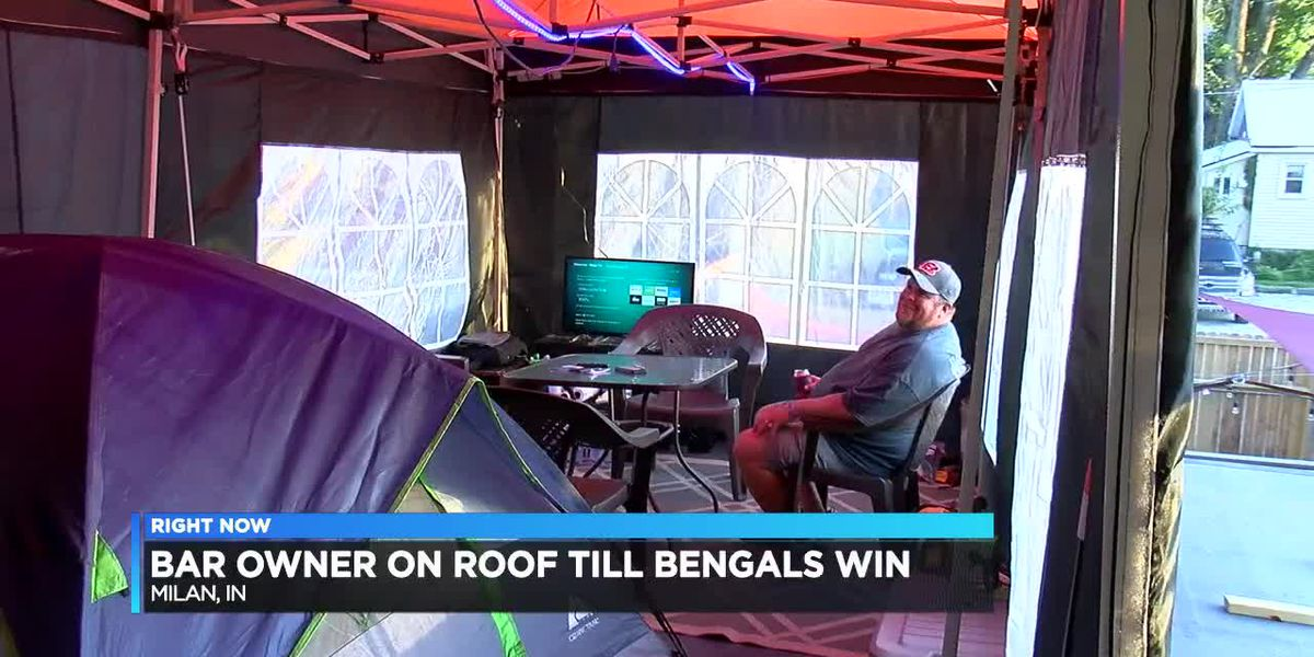 Indiana bar owner won't leave roof until the Bengals win a game