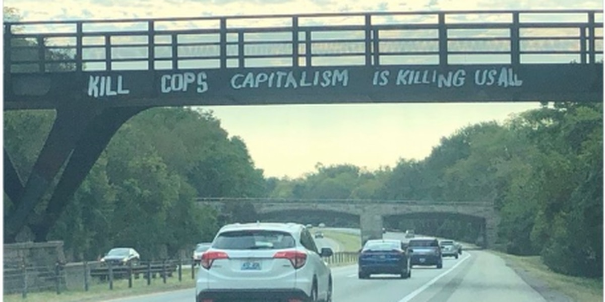 Police, community angered over anti-cop graffiti on I-64 overpass