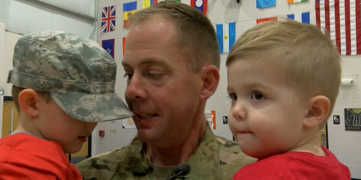 Louisville soldier reunites with family in surprise assembly