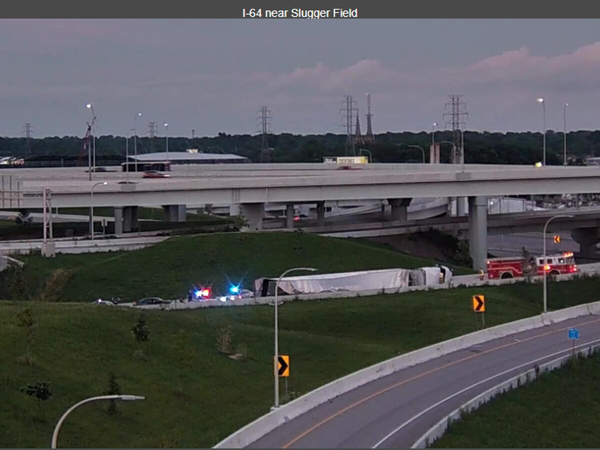 Ramp from I-64 W to I-65 S reopens after semi overturns