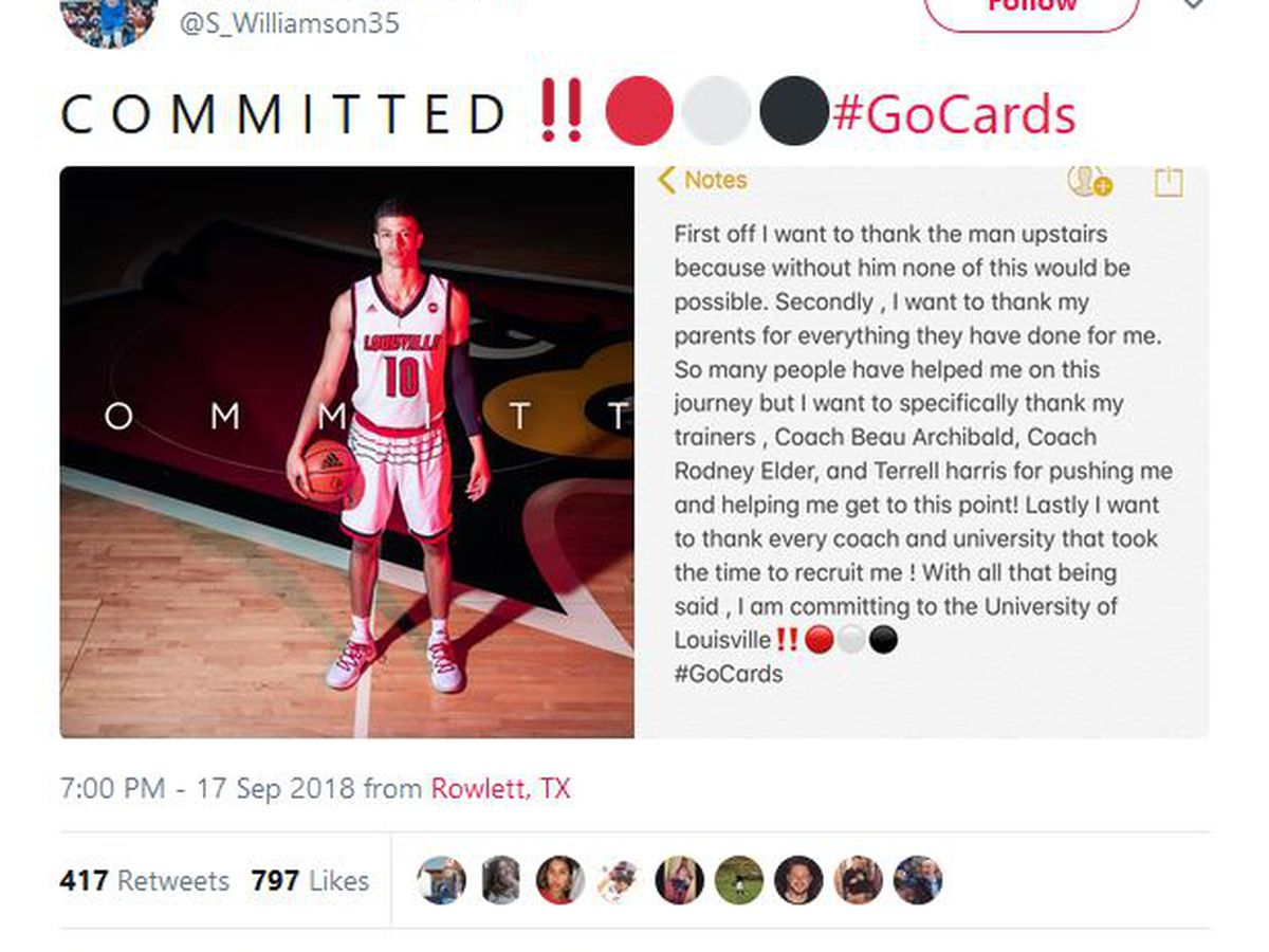 4-star recruit Samuell Williamson picks UofL