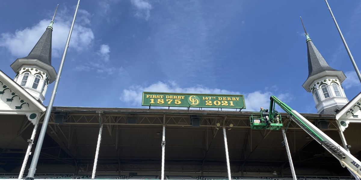 Derby 147 sign installed at Churchill Downs
