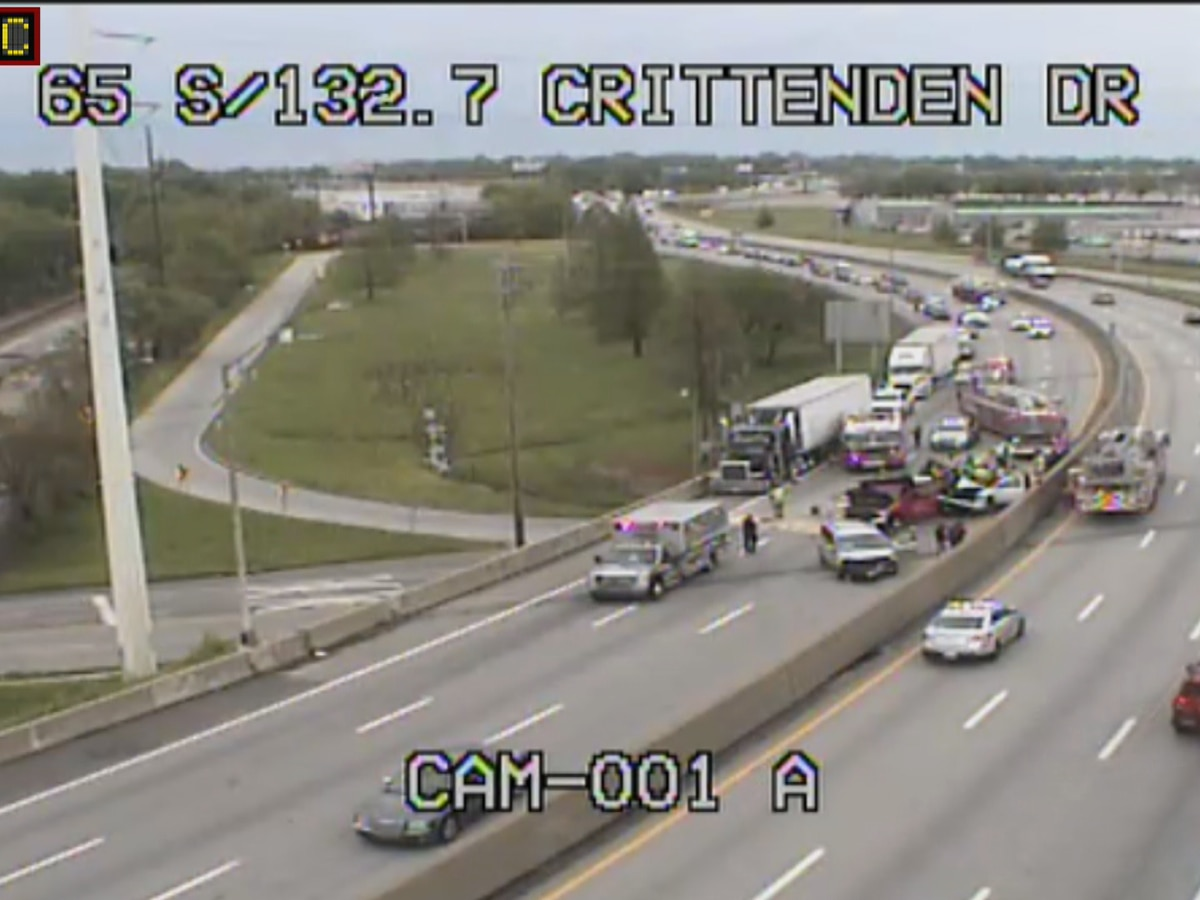 Three people in hospital after three-vehicle accident on I-65 North near Crittenden Drive