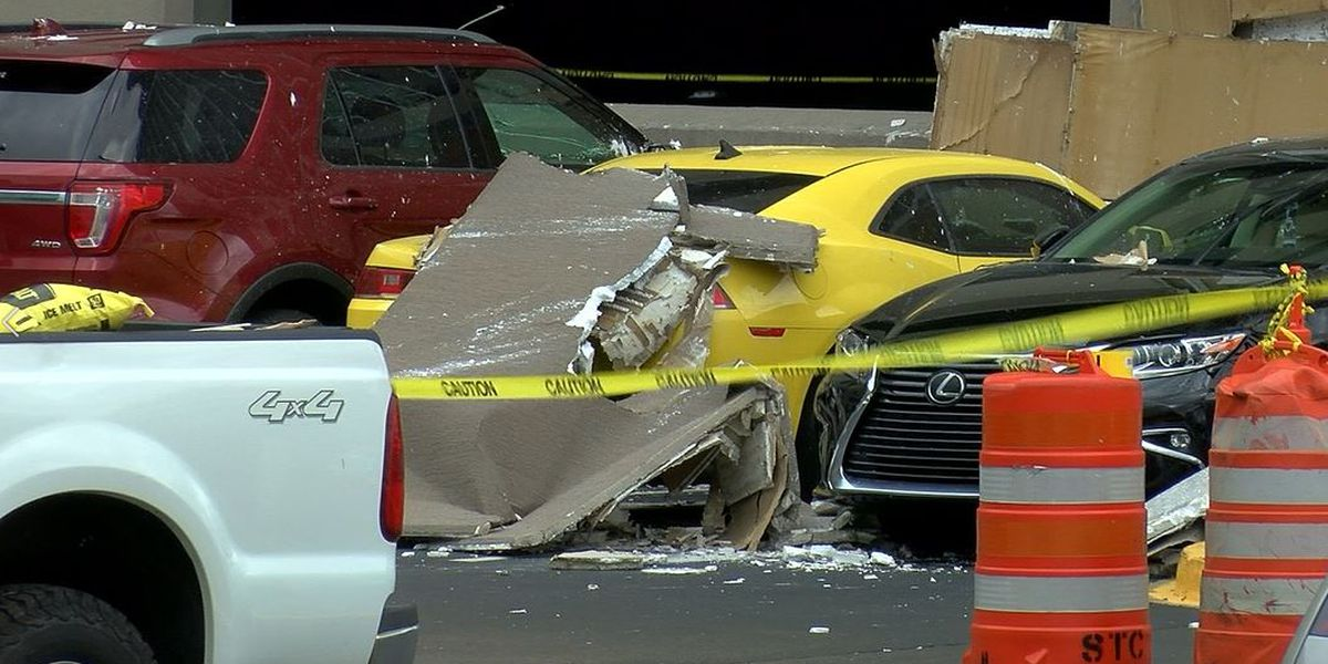 Strong winds damage parking garage, cars at Norton Women & Children's Hospital