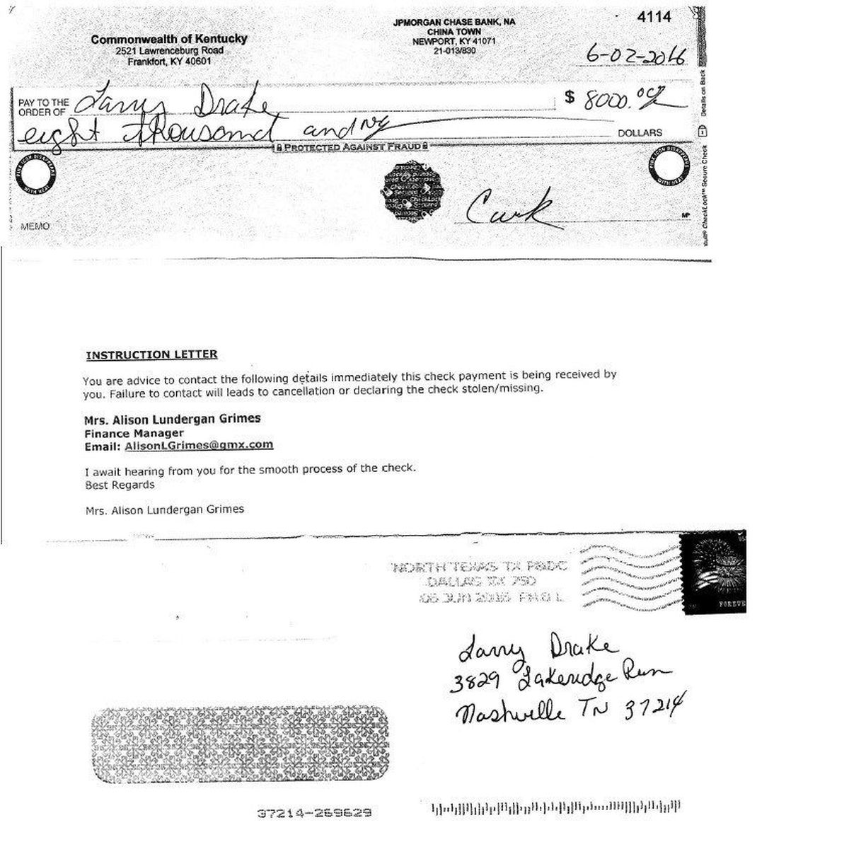 Check fraud scam alert issued by Kentucky Treasurer