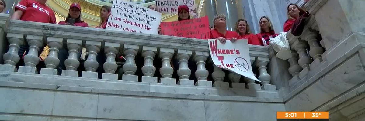 Teachers gather in Frankfort to protest 3 pieces of legislation