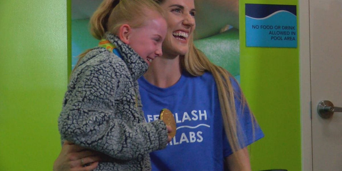 Olympic gold medalist stops by for National Water Safety Month