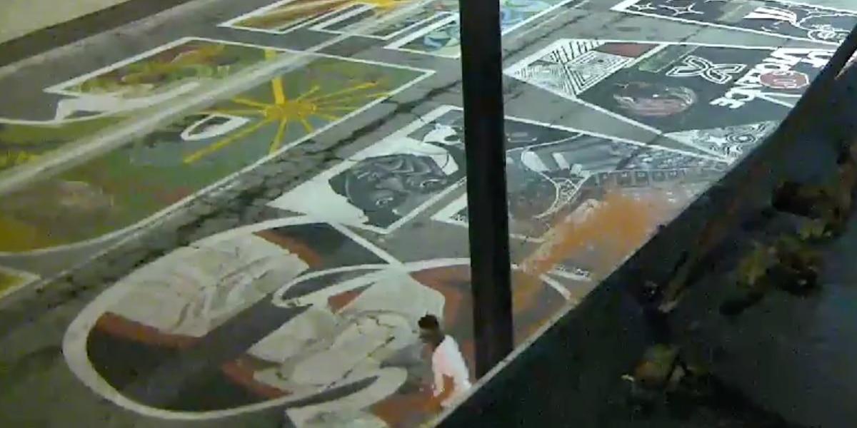 Black Lives Matter mural vandalized outside Cincinnati City Hall, police release footage of suspect