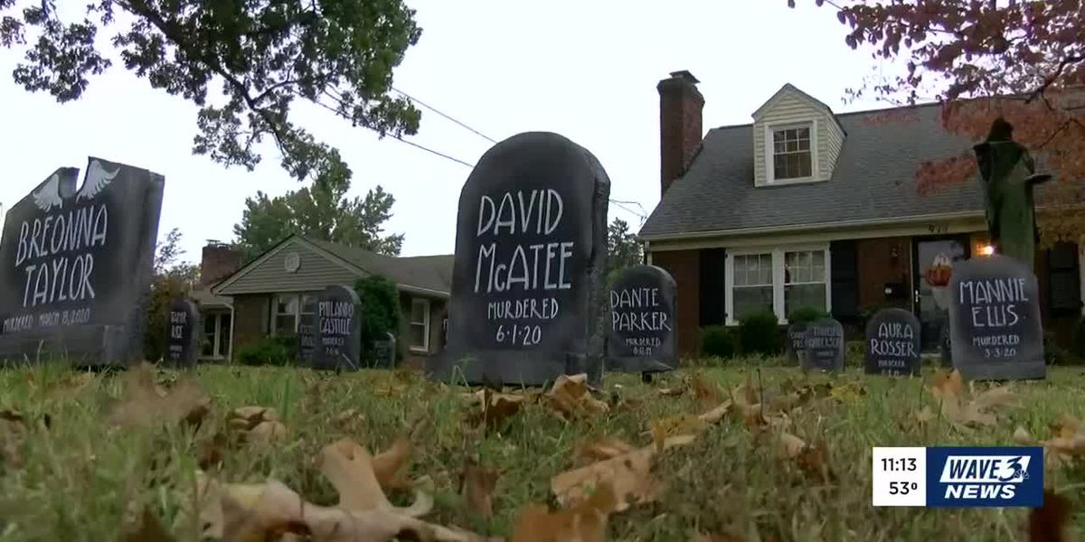 Halloween decorations at St. Matthews home include Black Lives Matter cemetery
