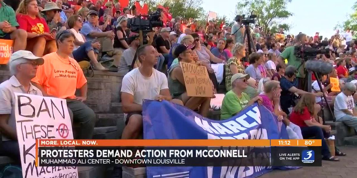 Protesters turn up heat on McConnell in downtown Louisville