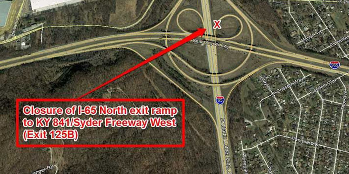 Repairs to bring ramp closure on I-65 at Gene Snyder Freeway this weekend