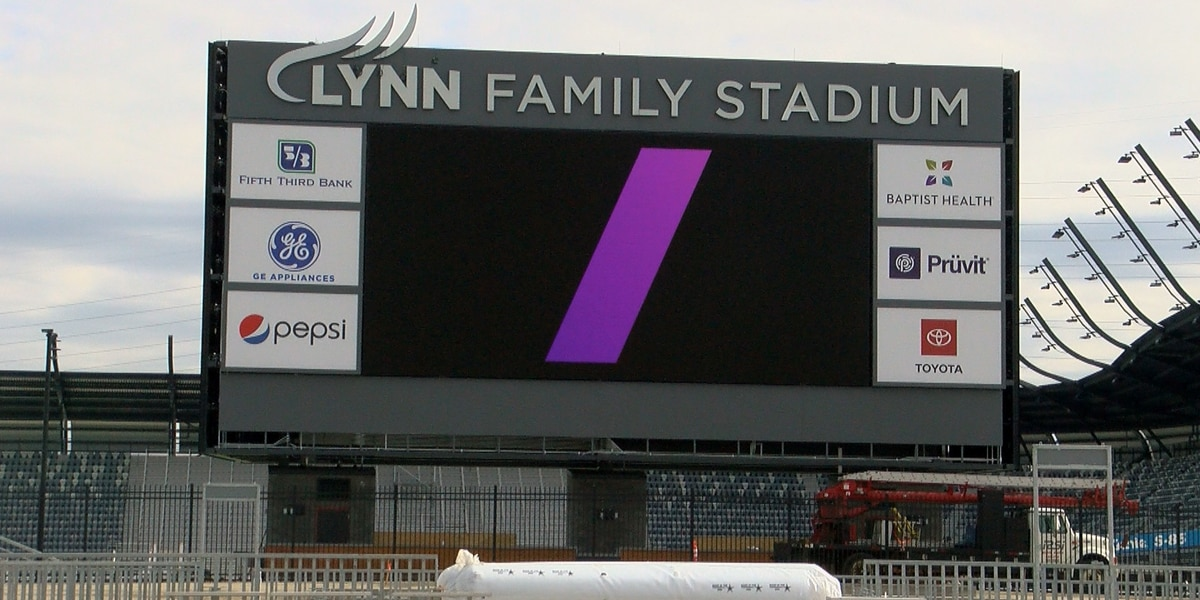 Signboard outside home stadium of Louisville City FC adorns Lynn Family Stadium name