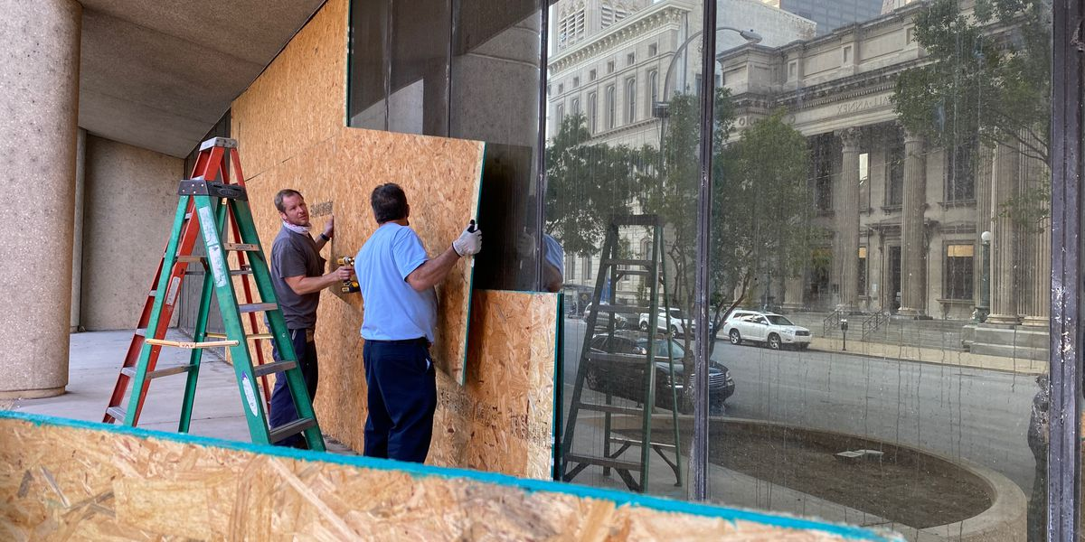 Plywood removed from Hall of Justice