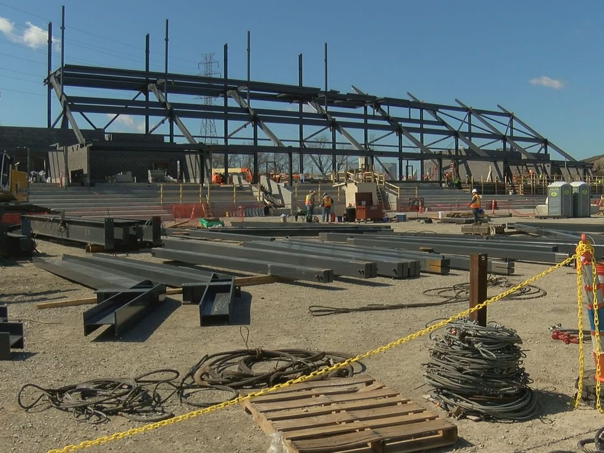 LouCity FC stadium continues to rise despite wet winter