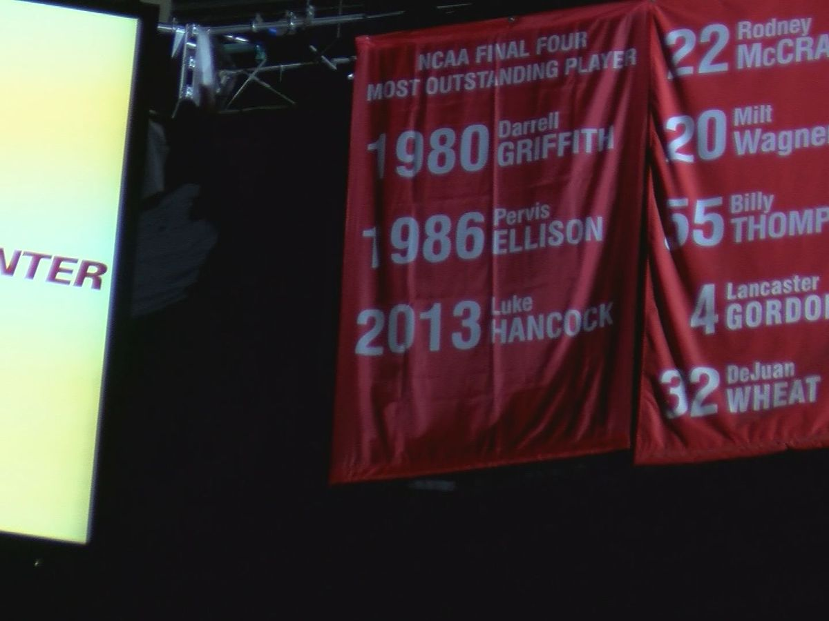 UofL unveils new banner to honor Hancock, Griffith and Ellison