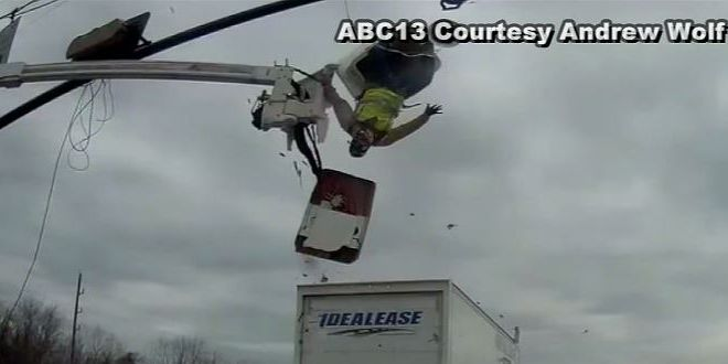 Caught on camera: Houston worker survives flying out of construction