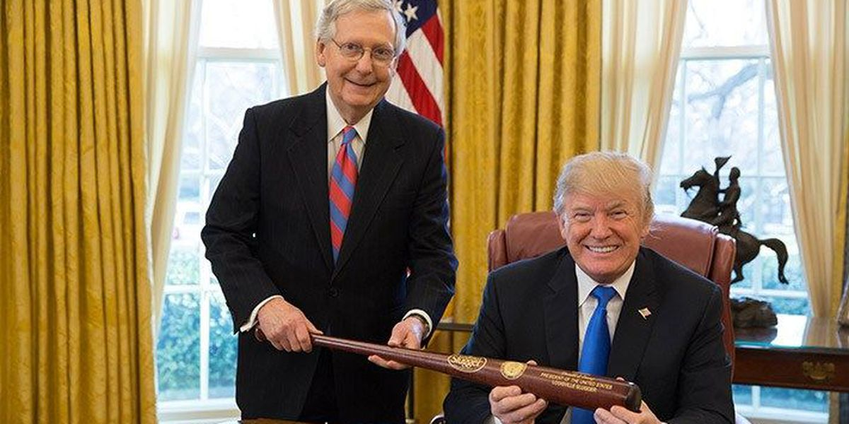 McConnell presents Trump with personalized Louisville Slugger