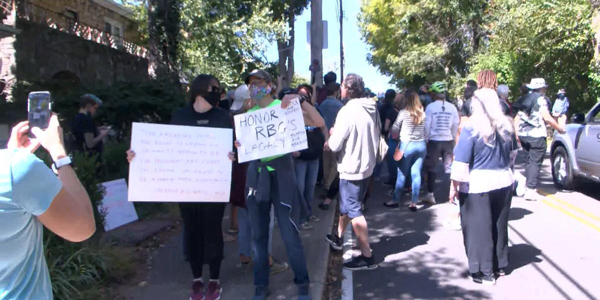 Protesters gather outside Sen. McConnell's home Saturday