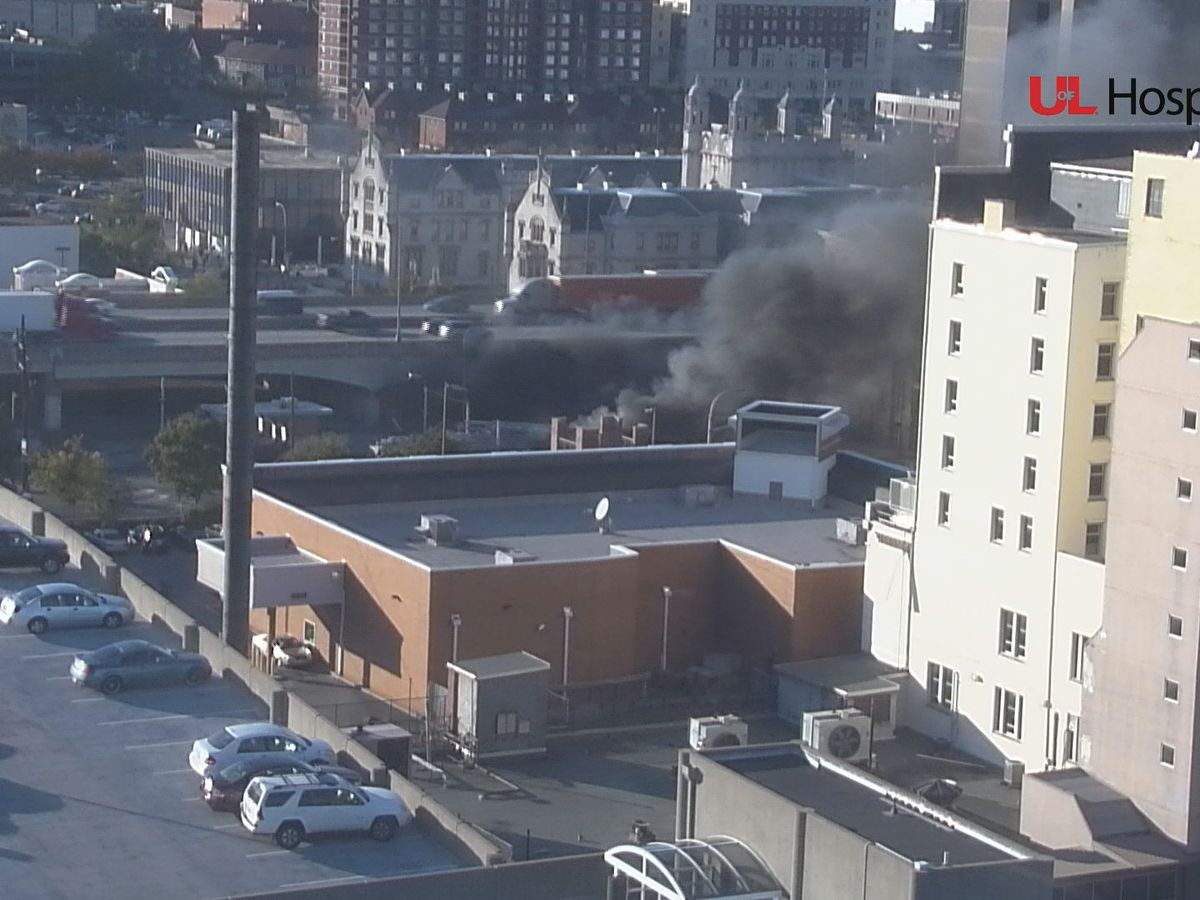 Semi on fire near Brook St & Broadway in downtown Louisville