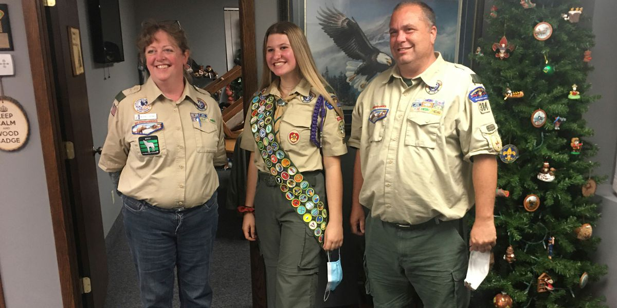Boy Scouts celebrate the first group of female Eagle Scouts