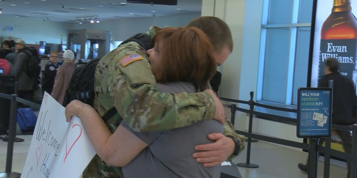 Mother embraces soldier son in tearful reunion after 6 months apart
