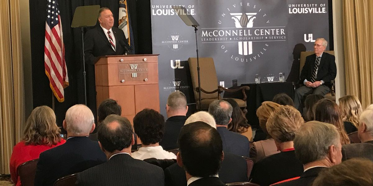 Mike Pompeo discusses protests, strengthening NATO defense while in Louisville