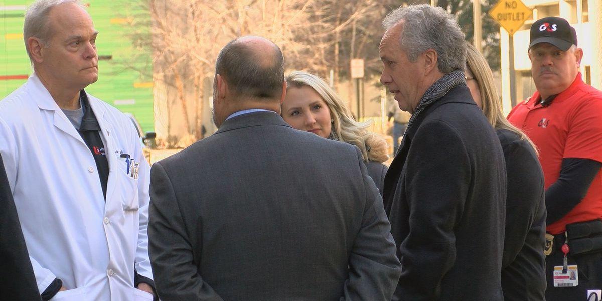 Louisville mayor makes passionate plea to raise taxes outside hospital ER