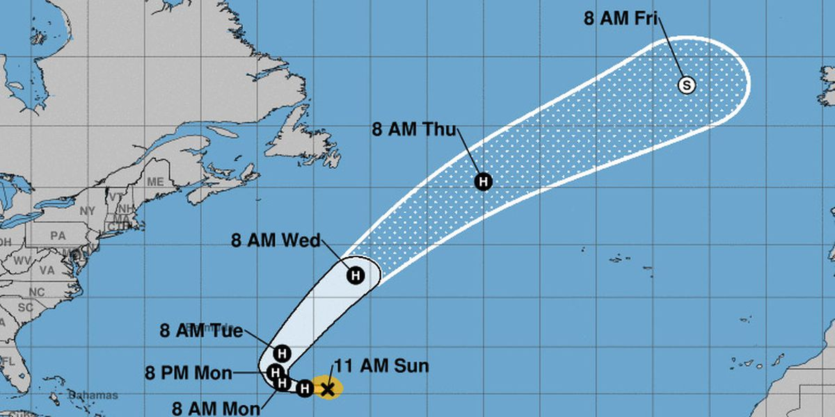 Hurricane Oscar swirls over western Atlantic