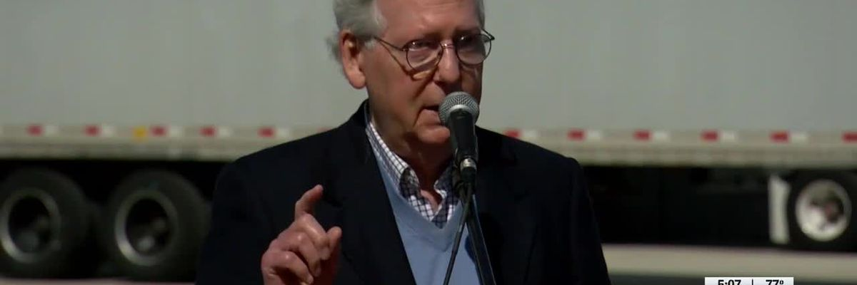 McConnell pushes Republicans to get vaccinated during Bullitt County vaccine warehouse visit