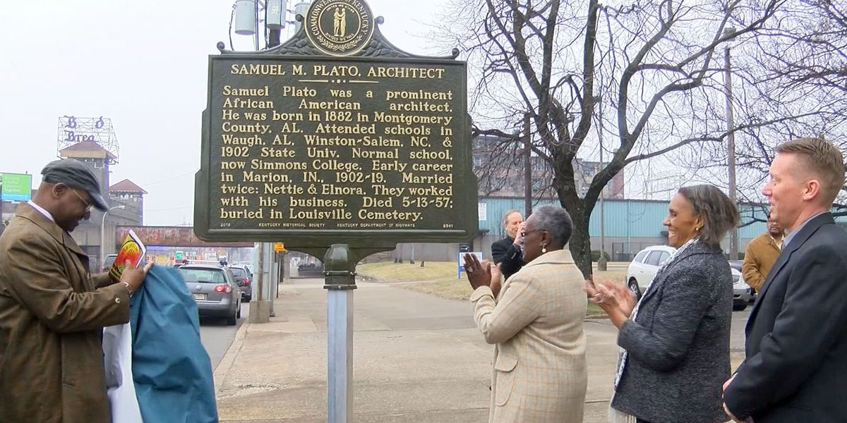 Kentucky Historical Marker dedicated to architect Samuel Plato