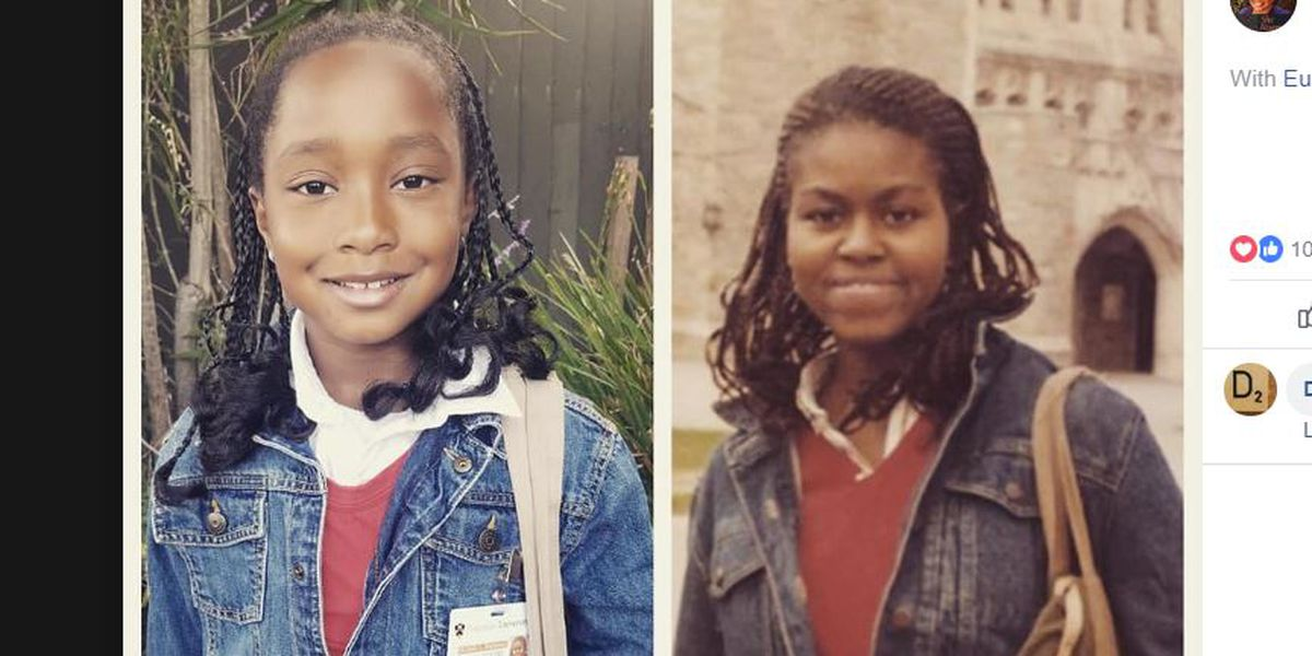 8-year-old dresses as her hero Michelle Obama for school's Cultural Heroes Day