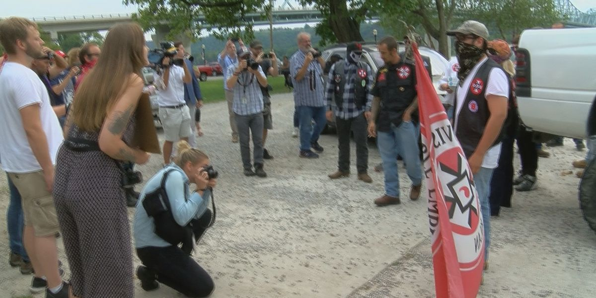 KKK members come face to face with protesters in Madison, Indiana