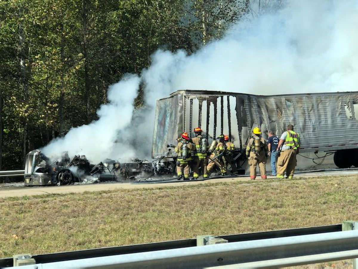 Semi catches fire on I-65 South near Elizabethtown