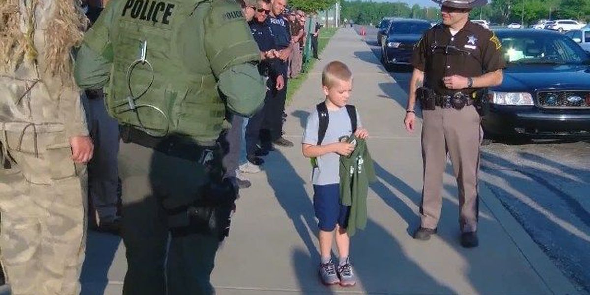 VIDEO: So. Indiana police escort son of fallen officer to school