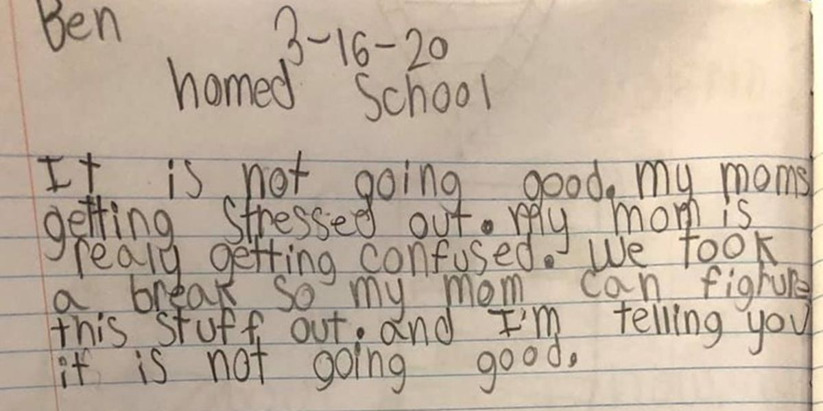 'Y'all I'm dying!!!': Mom shares son's hilarious note on her homeschooling skills