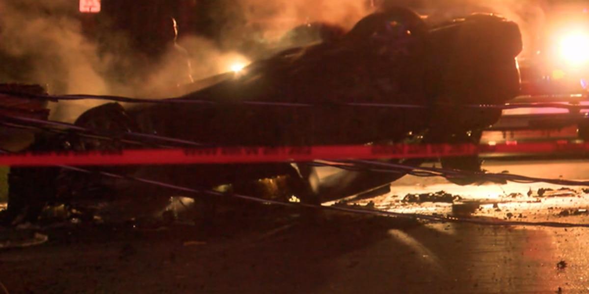 Deputies following car when it crashed, burst into flames in west Louisville