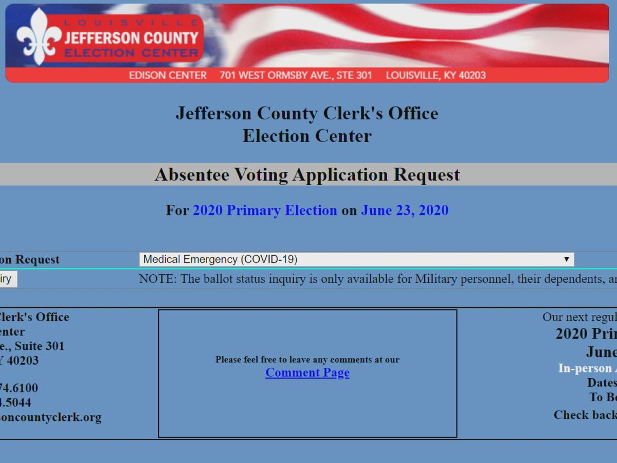 Absentee ballot requests for Kentucky Primary now open in Jefferson County