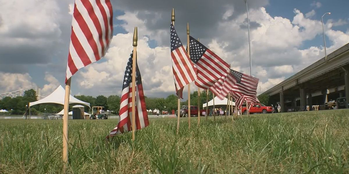 Thousands of flags planted to honor service members at Waterfront Park