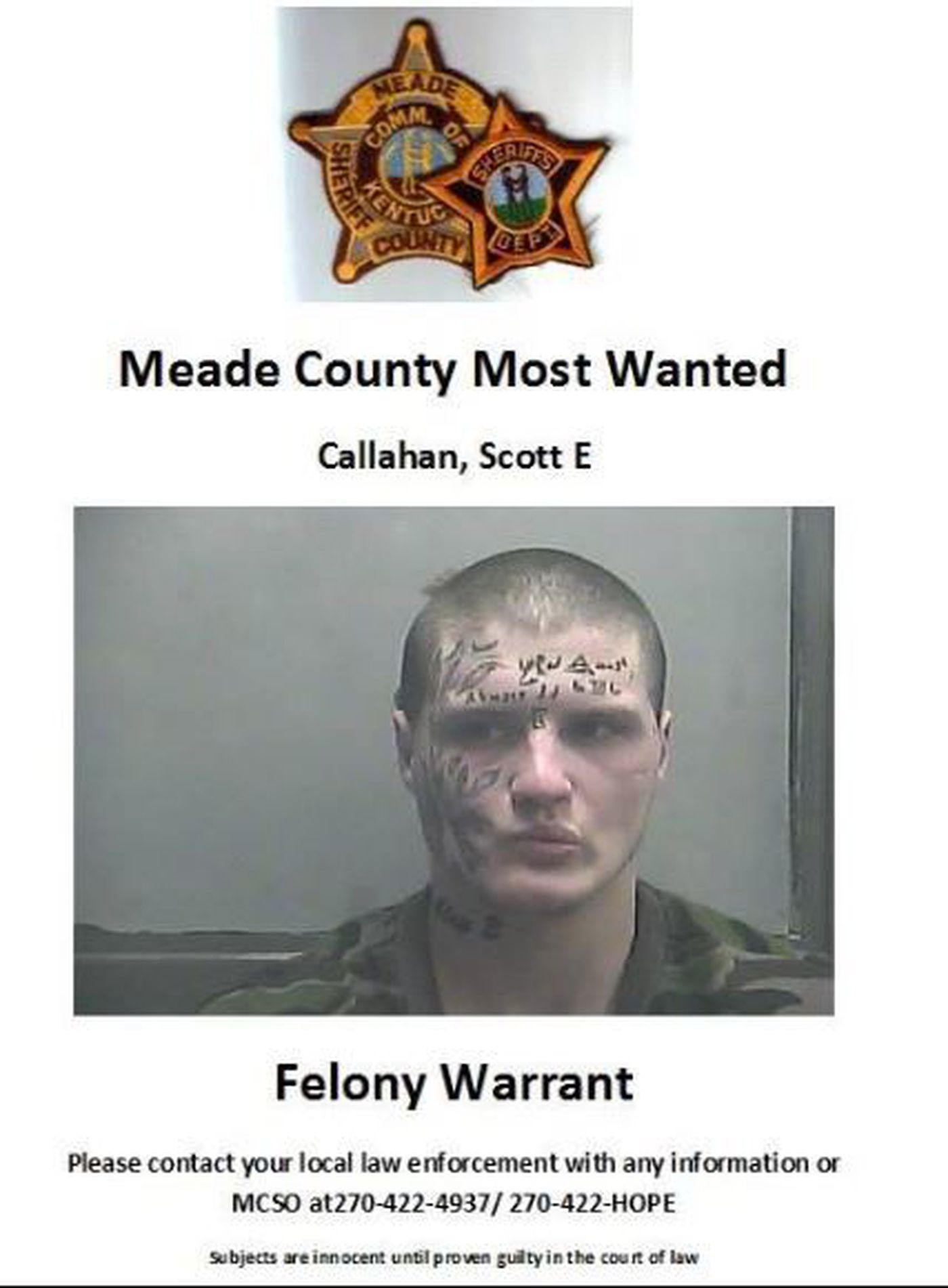 Meade Co  issues felony warrant for man on Most Wanted list