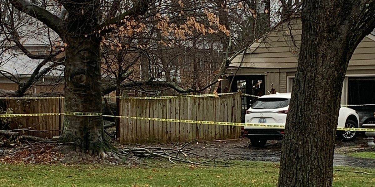 Two people rescued from tree falling on home in East Louisville