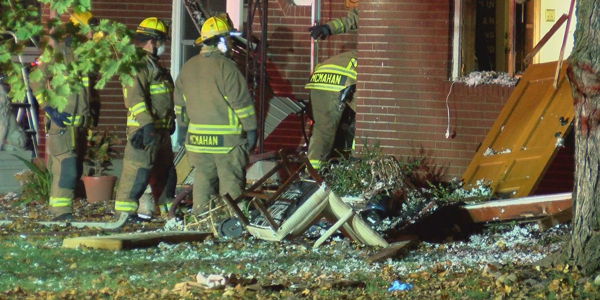 Possible explosion leads to fire, house collapse