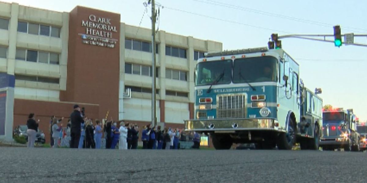 Clark Co. first responders thank Clark Memorial staff with parade