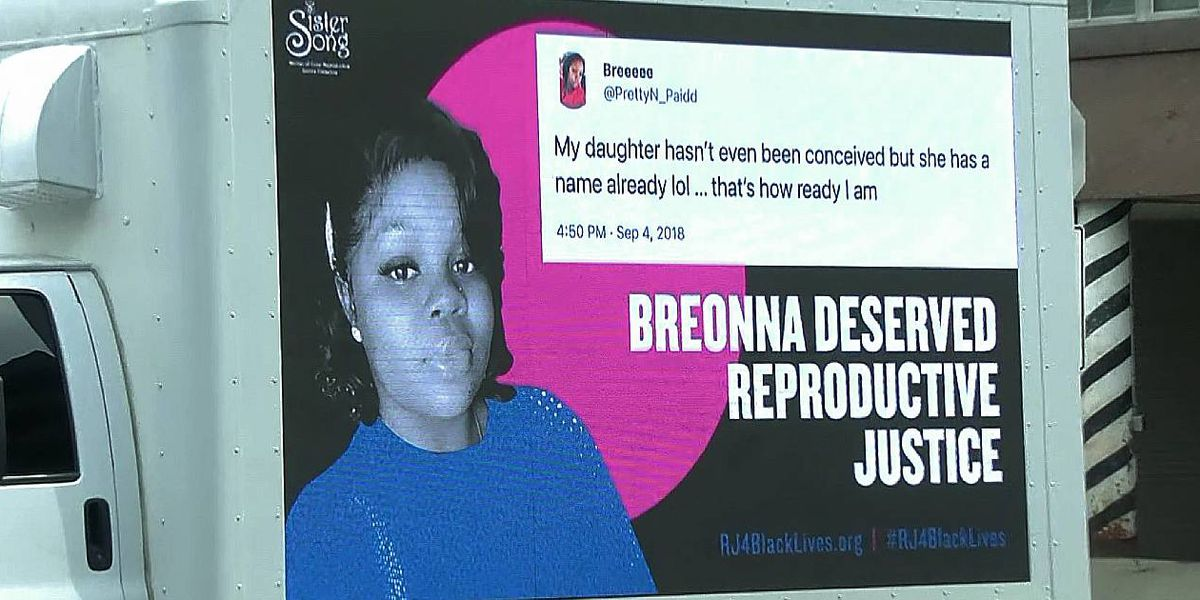 Mobile billboard honoring Breonna Taylor unveiled outside LMPD Headquarters