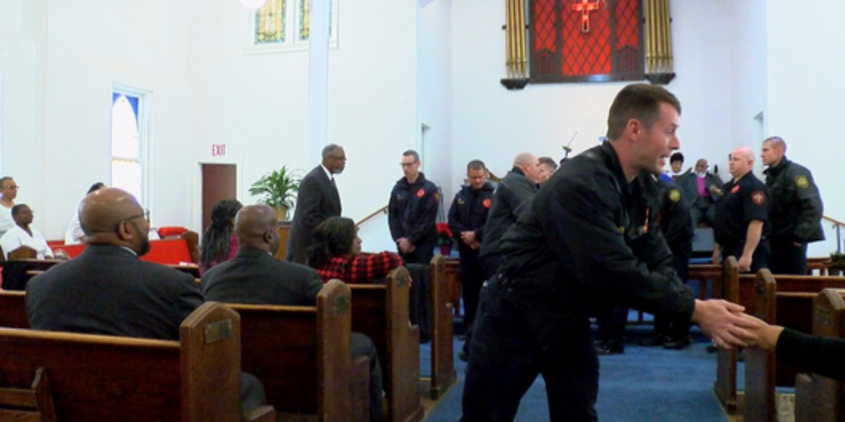 Firefighters who helped save church in November return for Sunday service