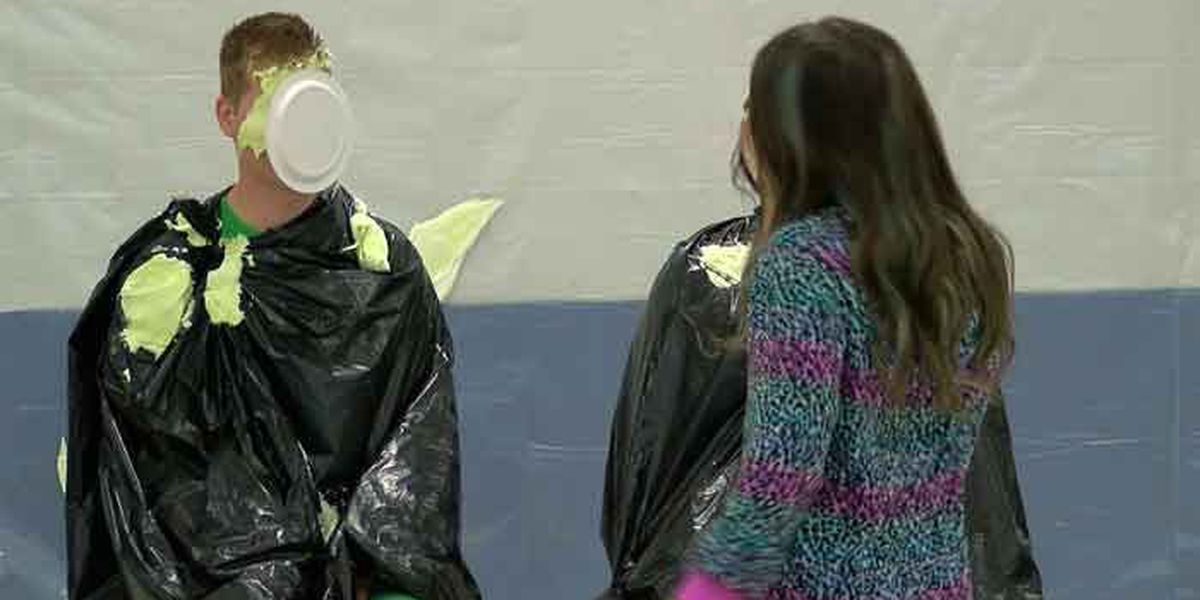LEPAS students throw pies at administrators for good cause