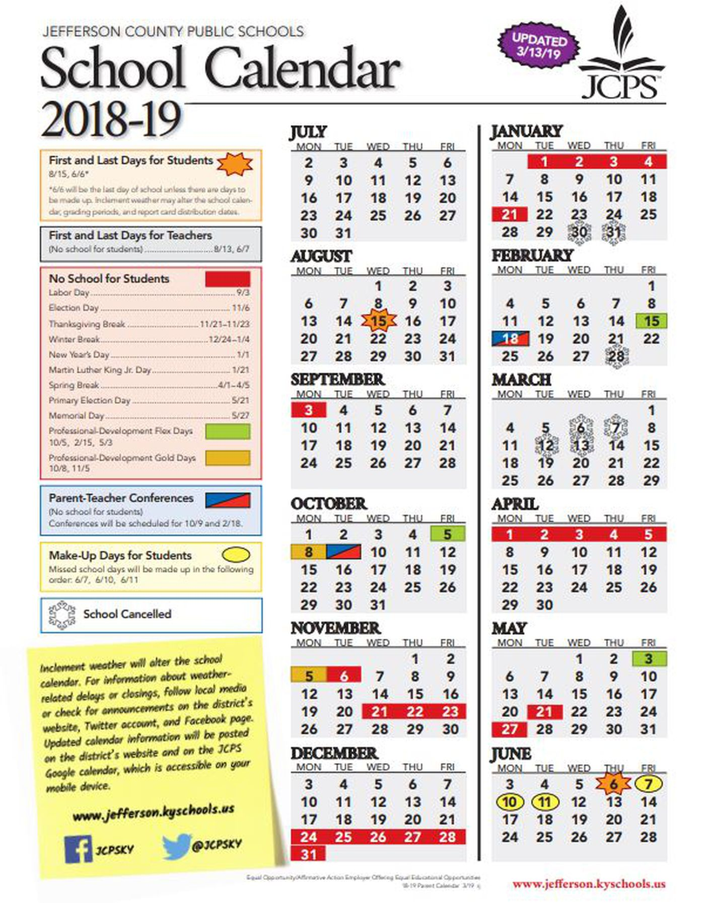 Jcps School Calendar 2019 JCPS continues to update last day of school, graduation dates and