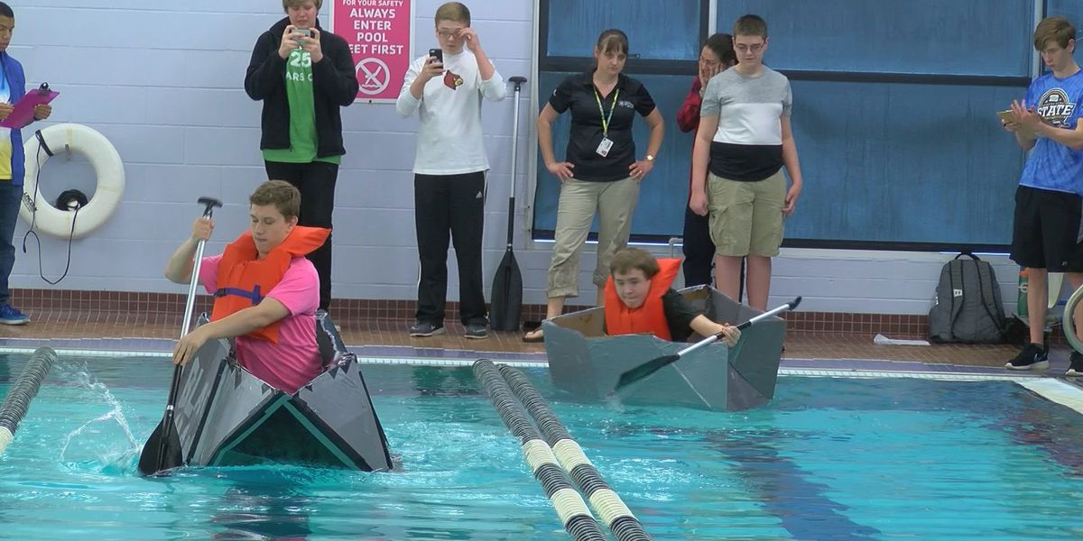 Engineering students take part in cardboard boat races