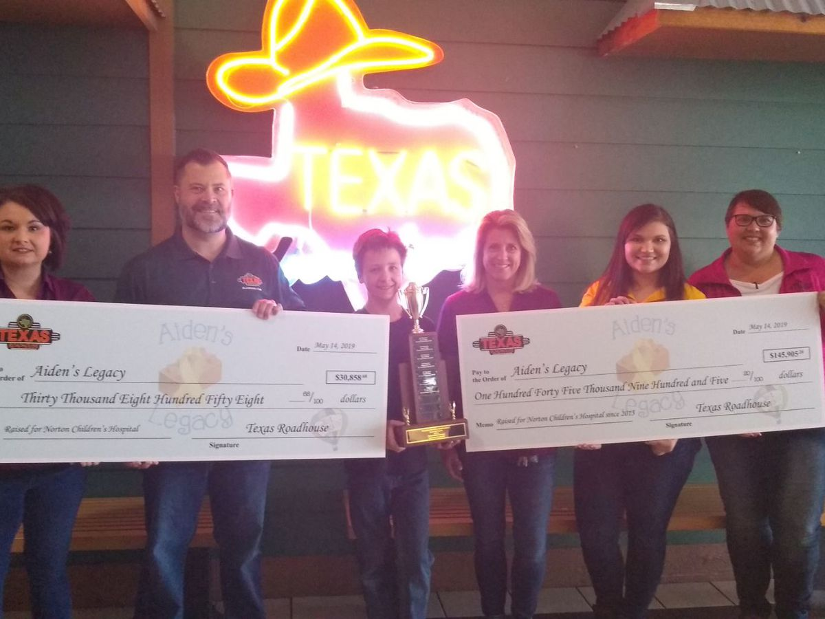 Aiden's Legacy and Texas Roadhouse raise more than $30K for Norton Children's Cancer Institute