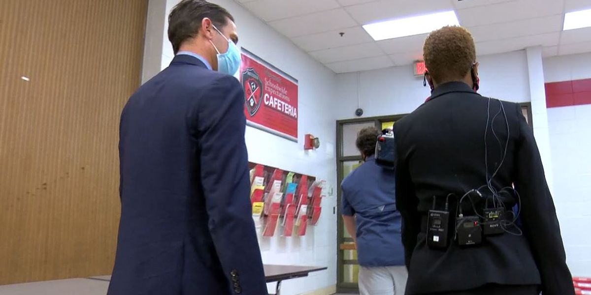 JCPS Superintendent walks through Meyzeek Middle before students return