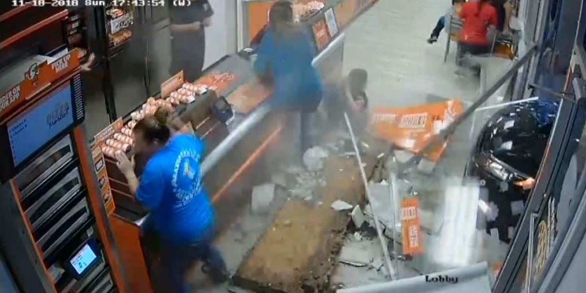 VIDEO: Car plows into Little Caesars in Florida